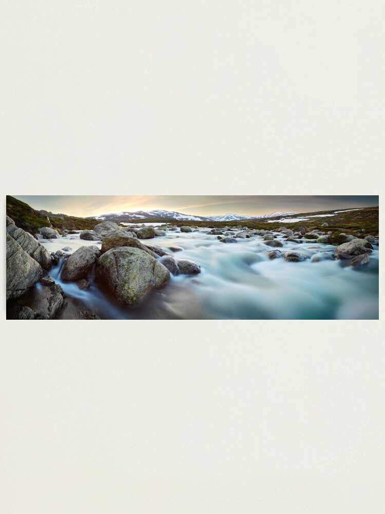 Alternate view of Snowy River Sunset, Mt Kosciuszko, New South Wales, Australia Photographic Print
