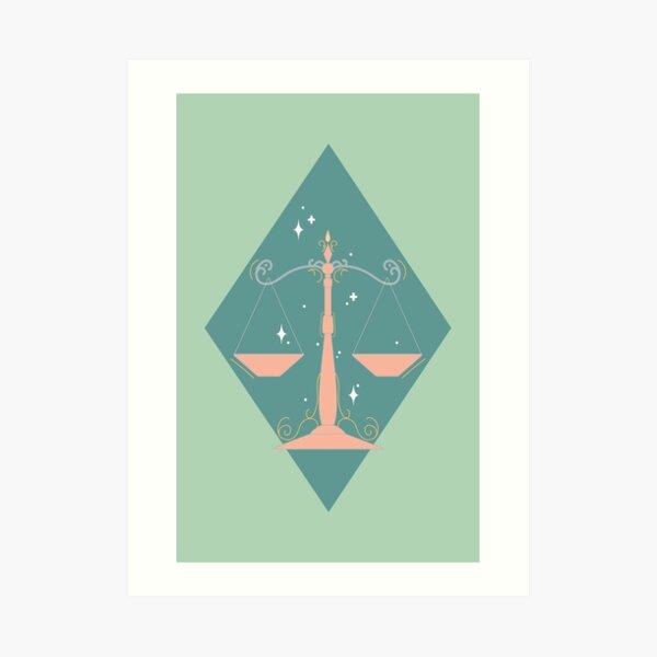 Libra Scales - TEAL Art Print