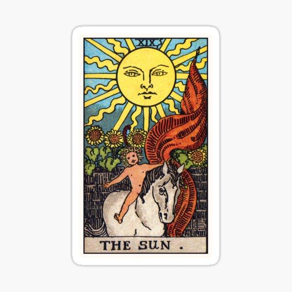 Representación de alta resolución del estilo tradicional Rider-Waite.  La carta de Sun Tarot irradia optimismo y positividad. Un gran Pegatina