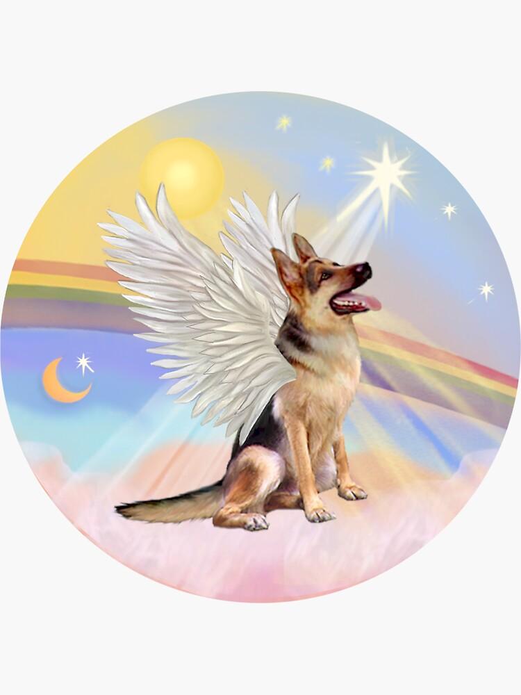 German Shepherd Angel in Heavens Clouds  by JeanBFitzgerald