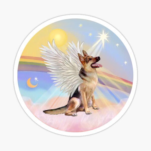 German Shepherd Angel in Heavens Clouds  Sticker