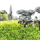 Grazing cows by Giuseppe Cocco