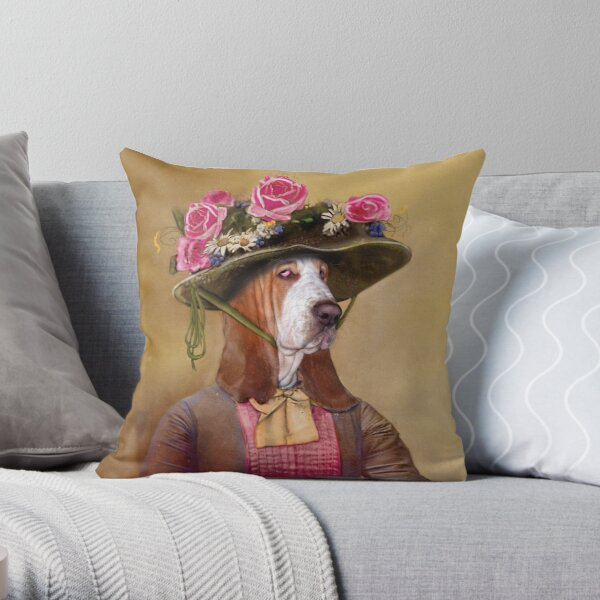 Victorian Basset Hound in a springtime hat. Throw Pillow