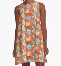 Terra-cotta Cactus A-Line Dress