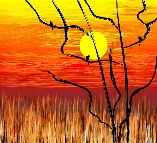 Digital painting of tree in a sunset atmosphere by tillydesign