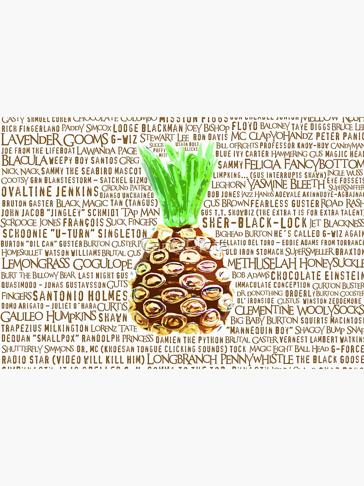 Psych Burton Guster Nicknames - Television Show Pineapple Room Decorative TV Pop Culture Humor Lime Neon Brown by CanisPicta