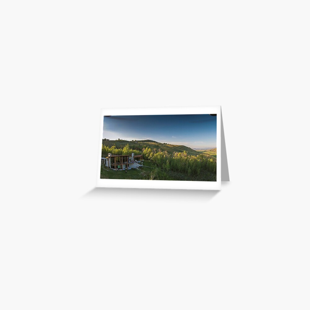 Drone Aerial of Beautiful Home Overlooking Jackson Hole Greeting Card