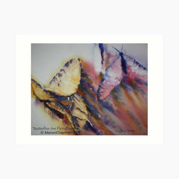 Watercolour: Butterflies Are Flying Art Print