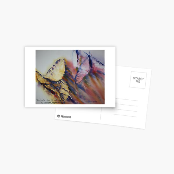 Watercolour: Butterflies Are Flying Postcard