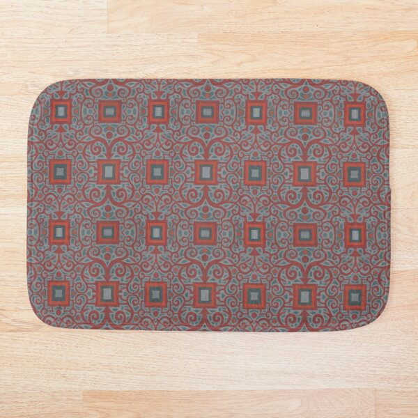 Squares and Lace, Arabesque Pattern, Gray Terracotta Bath Mat