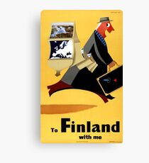 Finland Vintage Travel Poster Restored Canvas Print