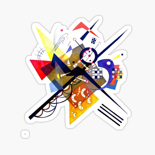 Kandinsky On White II (Auf Weiss) 1923 Artwork Reproduction, Design for Posters, Prints, Tshirts, Men, Women, Kids, Youth Sticker