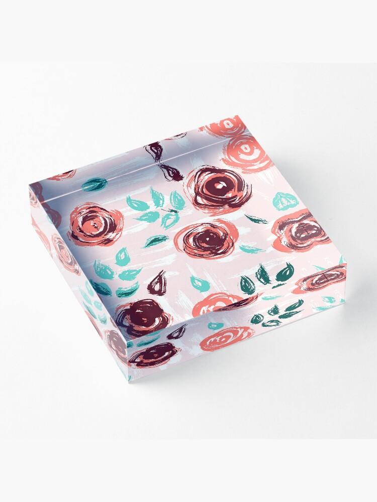 Alternate view of Brushstroke Roses Acrylic Block