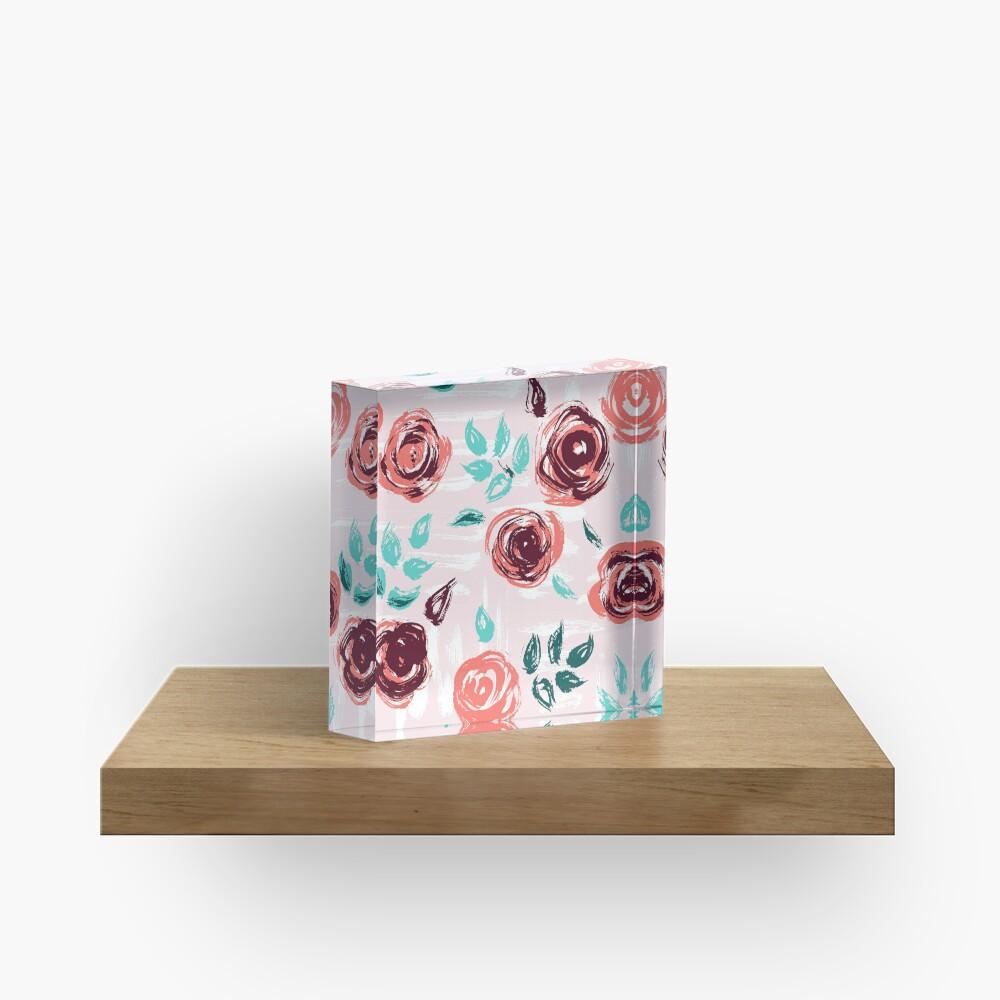 Brushstroke Roses Acrylic Block