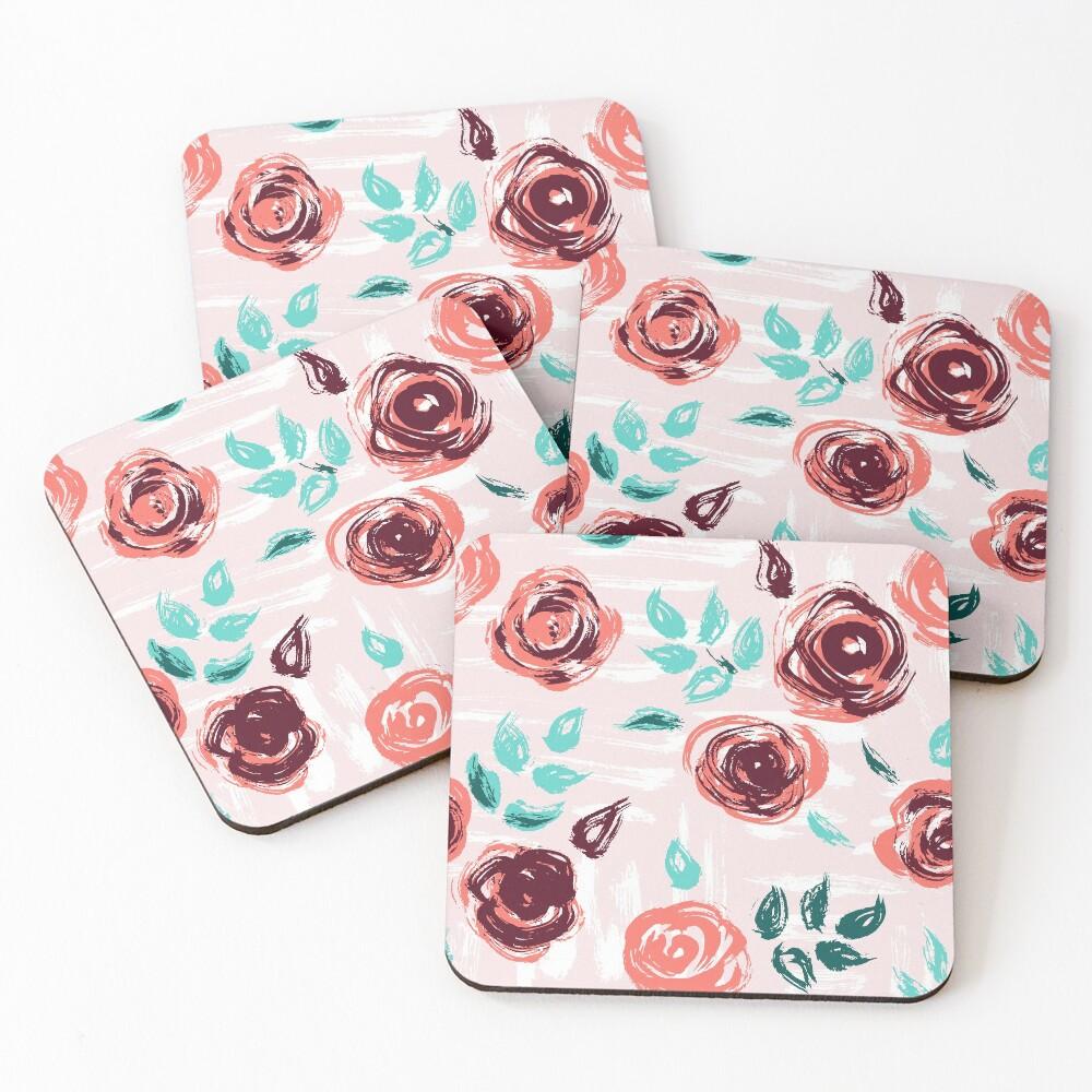 Brushstroke Roses Coasters (Set of 4)