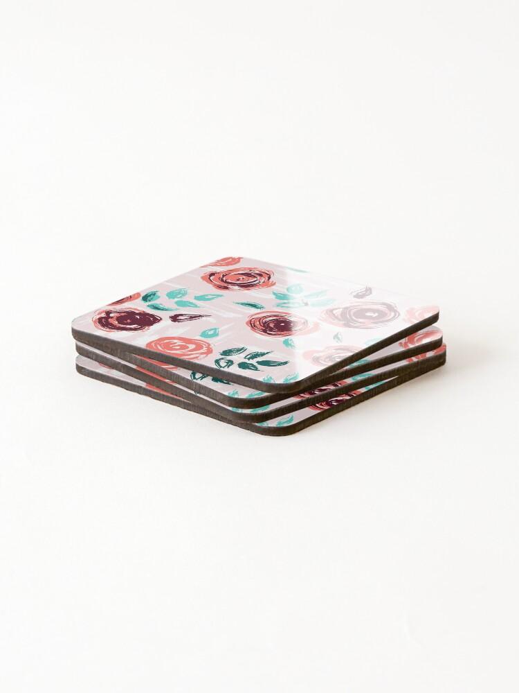 Alternate view of Brushstroke Roses Coasters (Set of 4)