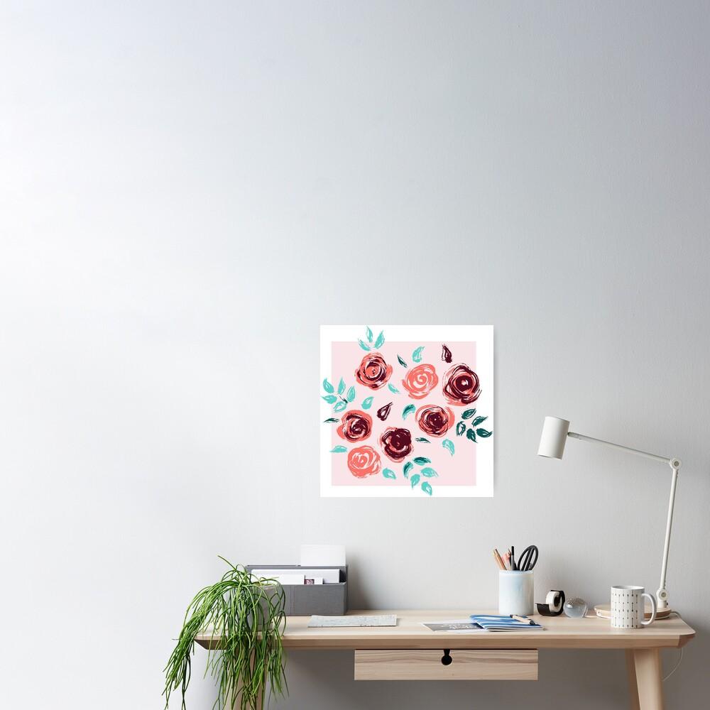 Brushstroke Roses Poster