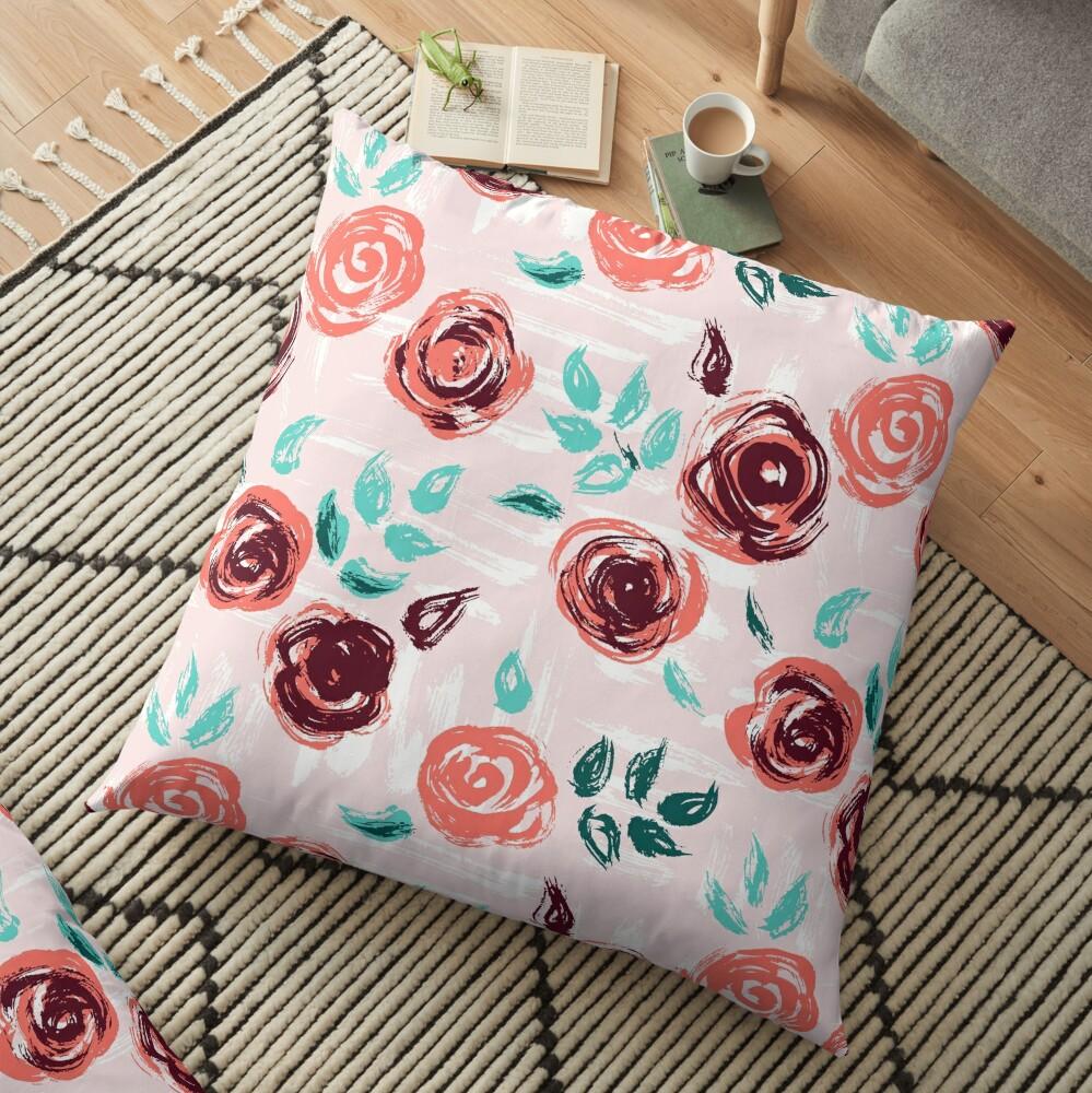Brushstroke Roses Floor Pillow