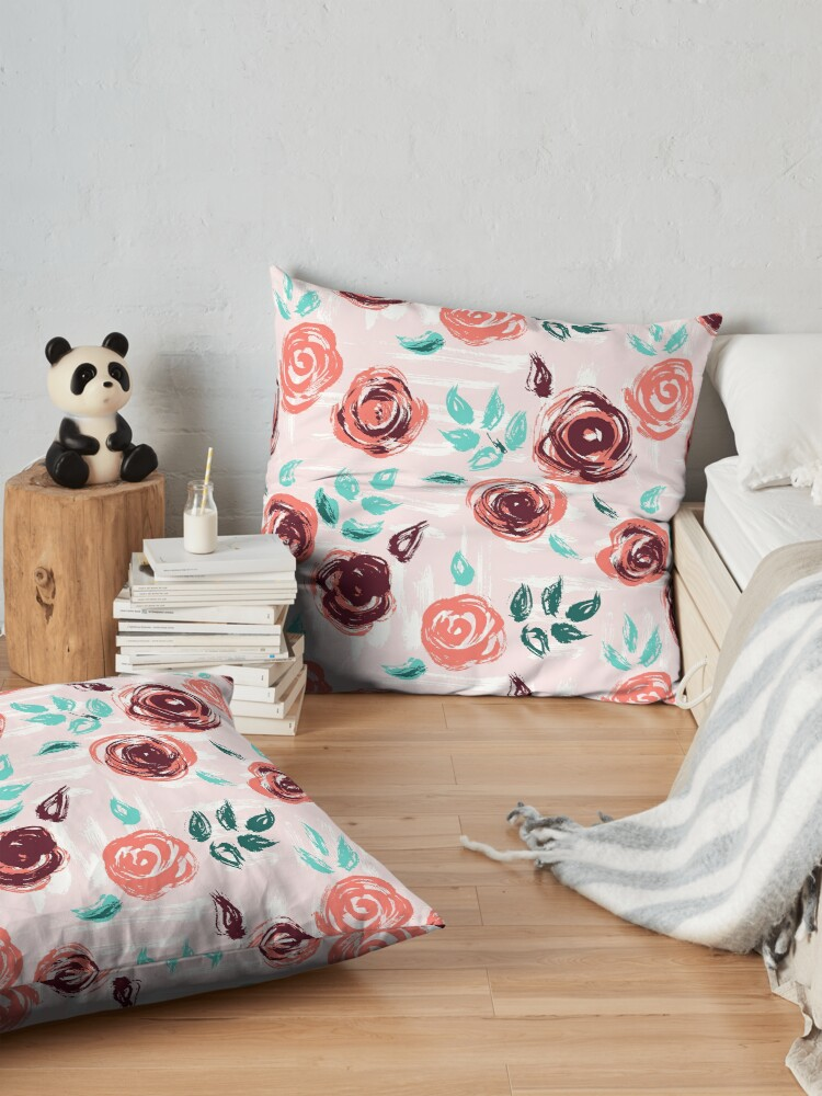 Alternate view of Brushstroke Roses Floor Pillow