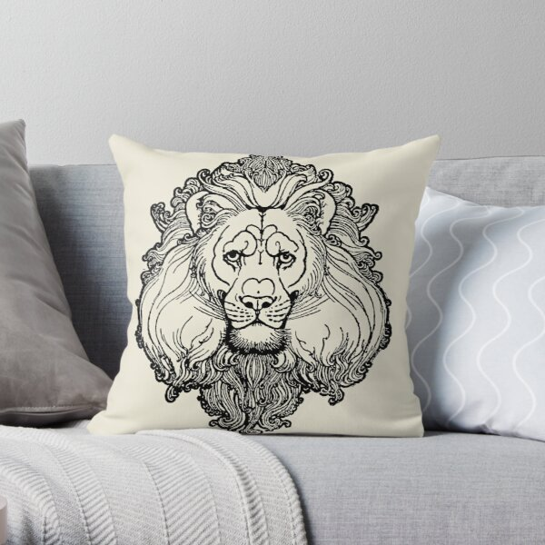 Frank Finn 1909 Lion - Wild Beasts Frontispiece Art Decal Old Illustration Graphic Throw Pillow