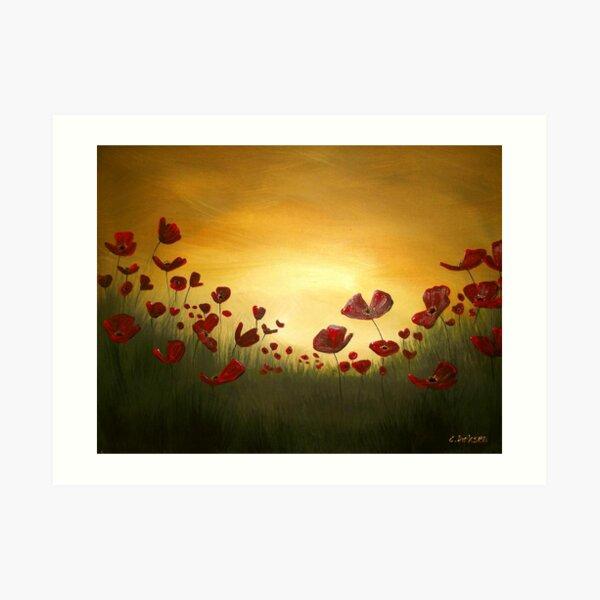 Poppies in the Rising Sun Art Print