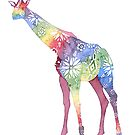 Flower Power Giraffe - African Sunrise colours by AuntieBetty