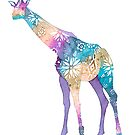 Flower Power Giraffe - Coral Reef colours by AuntieBetty