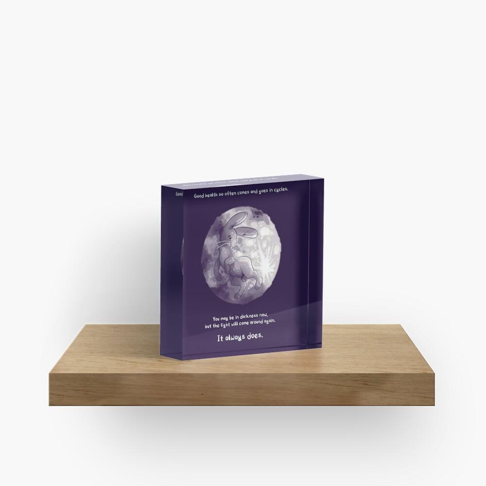 """The Light Will Come Around Again"" Moon Rabbit Acrylic Block"
