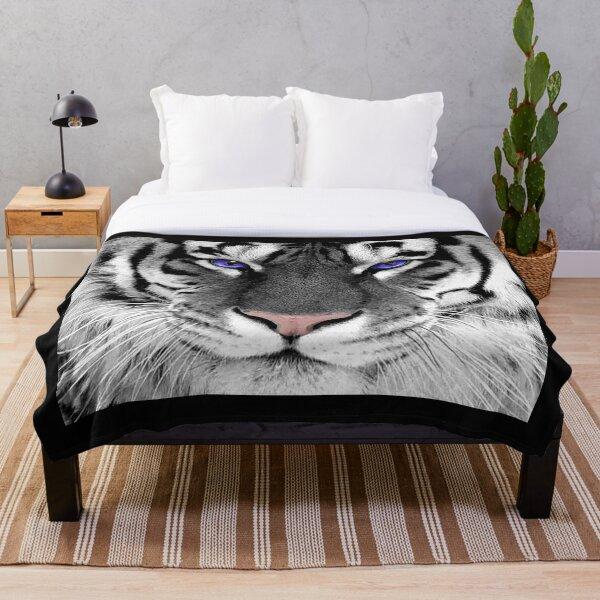 White tiger monochrome and colour Throw Blanket