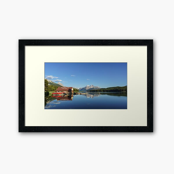 Maligne Lake Boat House Framed Art Print