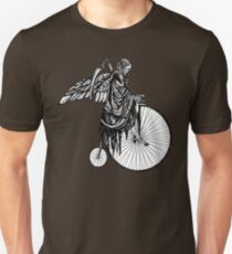 Death Rides an Old Timey Bike Unisex T-Shirt