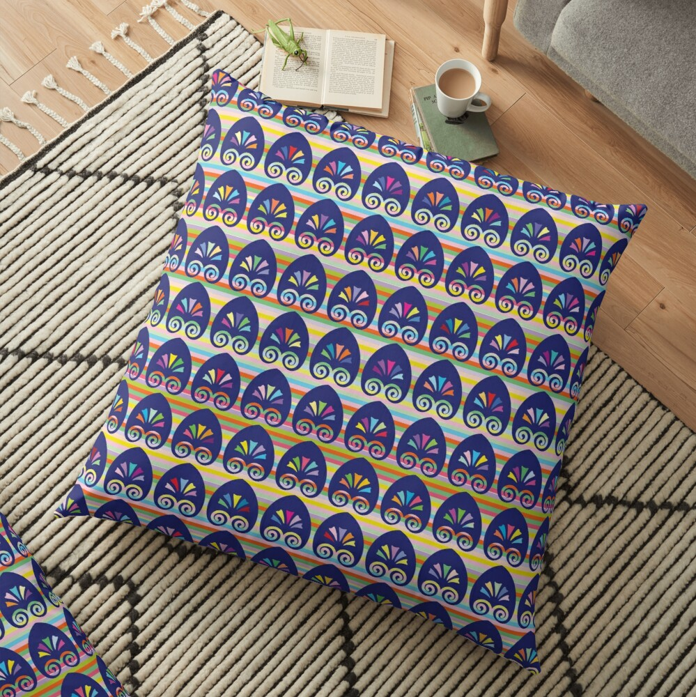 Multicolored fans and stripes pattern Floor Pillow