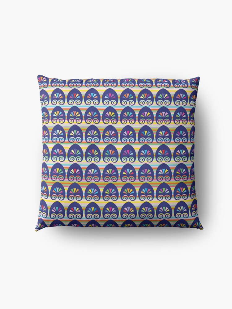 Alternate view of Multicolored fans and stripes pattern Floor Pillow
