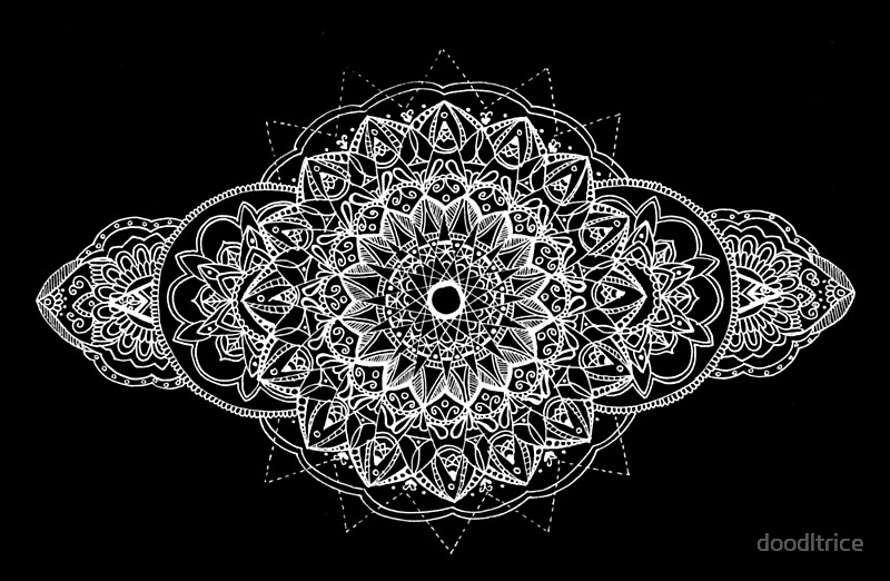 Quot White Over Black Mandala Quot By Doodltrice Redbubble