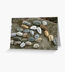 Peace messages on pebbles Greeting Card