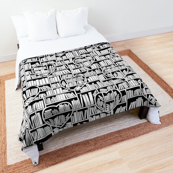 Book Lover Heart Library Pattern Comforter