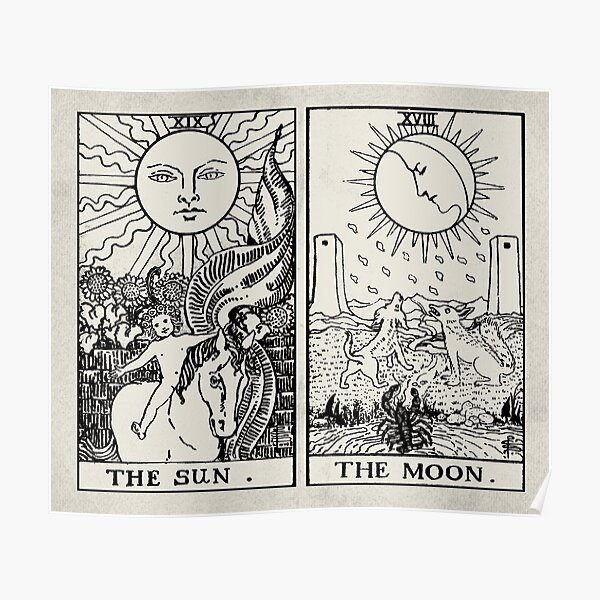 The Sun and Moon Tarot Cards Poster