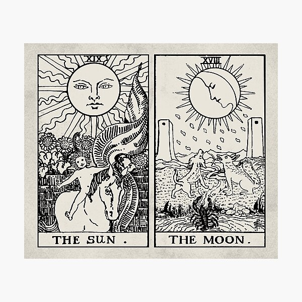 The Sun and Moon Tarot Cards Photographic Print