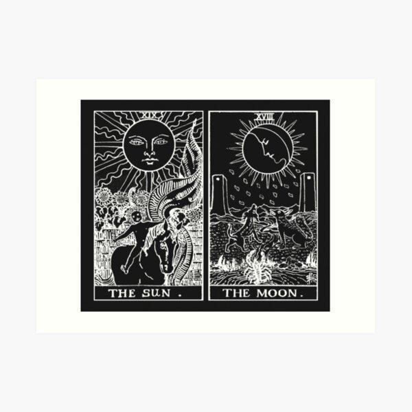 The Sun and Moon Tarot Cards   Pearl & Obsidian Art Print
