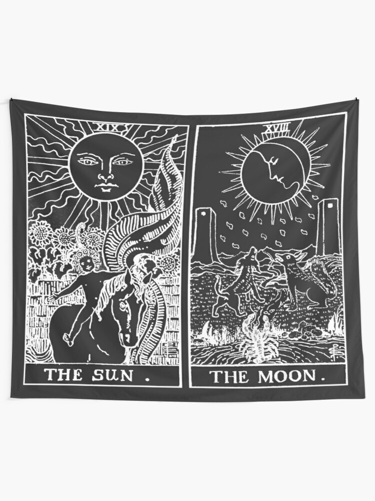 Alternate view of The Sun and Moon Tarot Cards | Pearl & Obsidian Tapestry