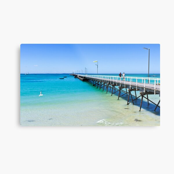 Beachport Jetty on a perfect day, South Australia Metal Print