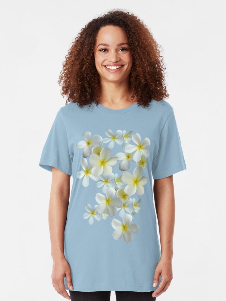 Alternative Ansicht von Frangipani - Weiß und Gelb Slim Fit T-Shirt