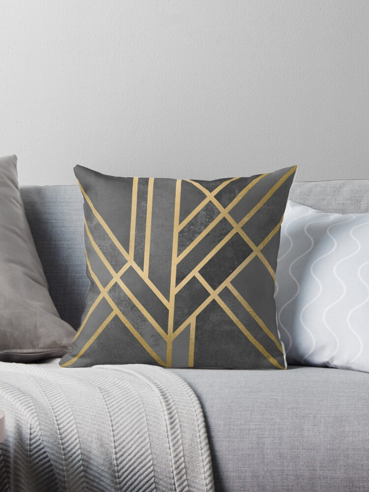 Quot Art Deco Geometry 1 Quot Throw Pillows By Elisabeth