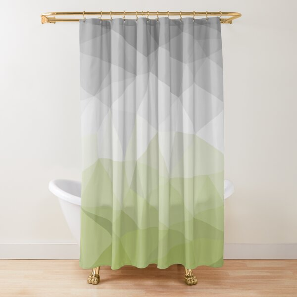 green and grey polygon Shower Curtain
