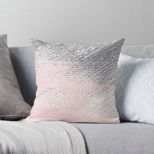 Pink Pastel and Grey Throw Pillow