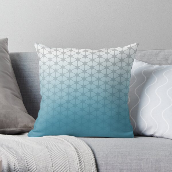 blue and grey pattern Throw Pillow