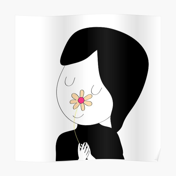 cute girl with flower  Poster