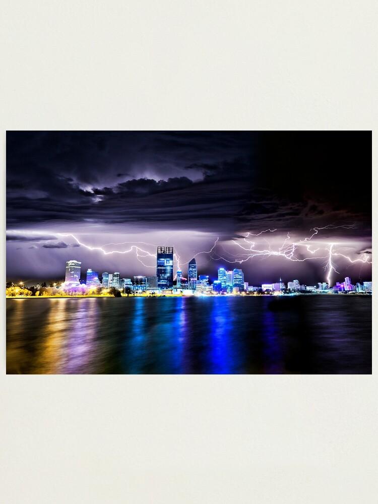 Alternate view of Perth Lightning Storm Photographic Print