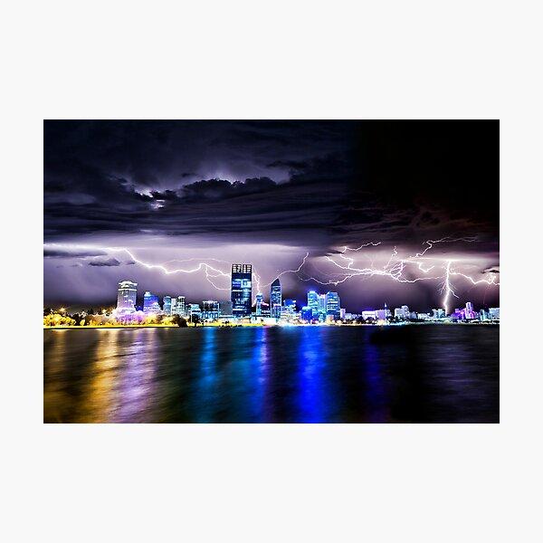 Perth Lightning Storm Photographic Print