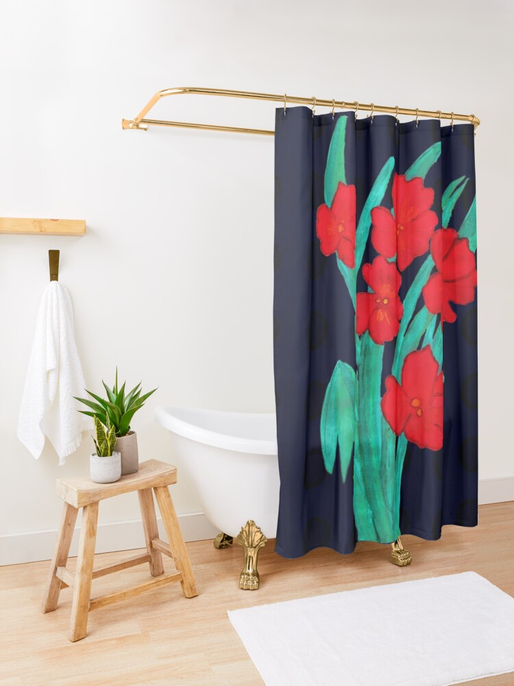 Alternate view of Red flowers gladiolus art nouveau style Shower Curtain